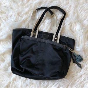 Coach Hampton Weekend Black Blue Tote Handbag